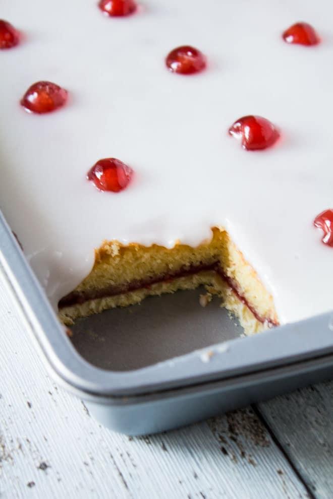 Iced Bakewell Tart Tray Bake