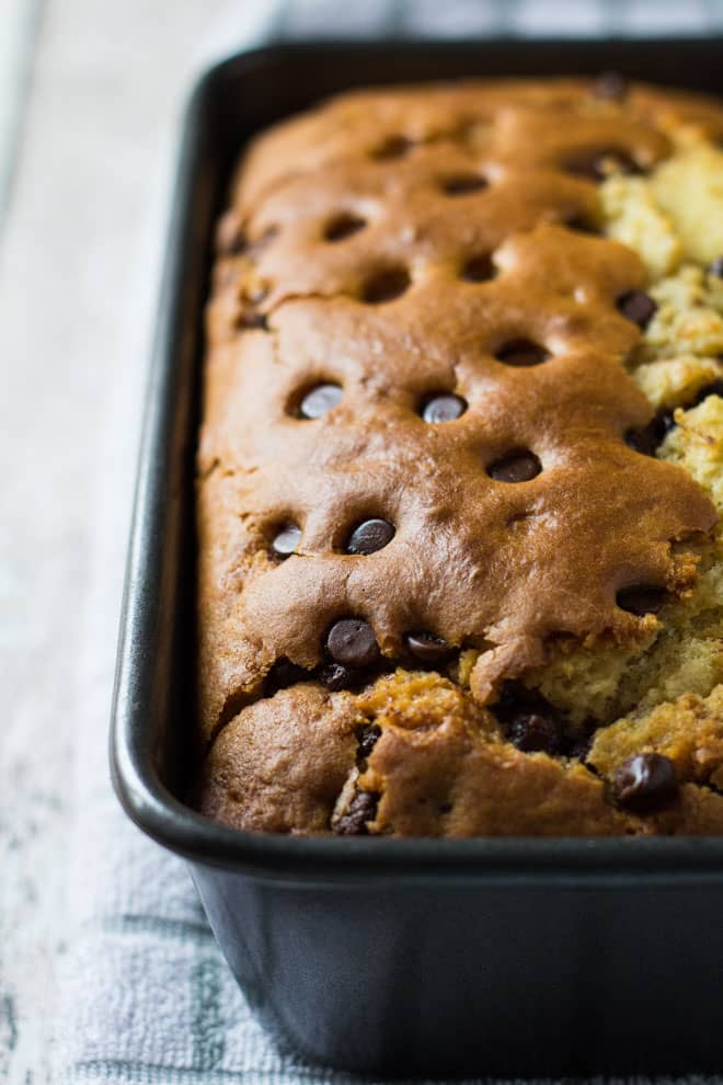 Chocolate Chip Orange Bread in a loaf pan.