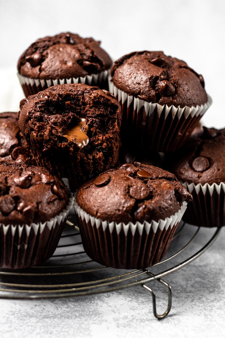 Nutella Stuffed Double Chocolate Muffins