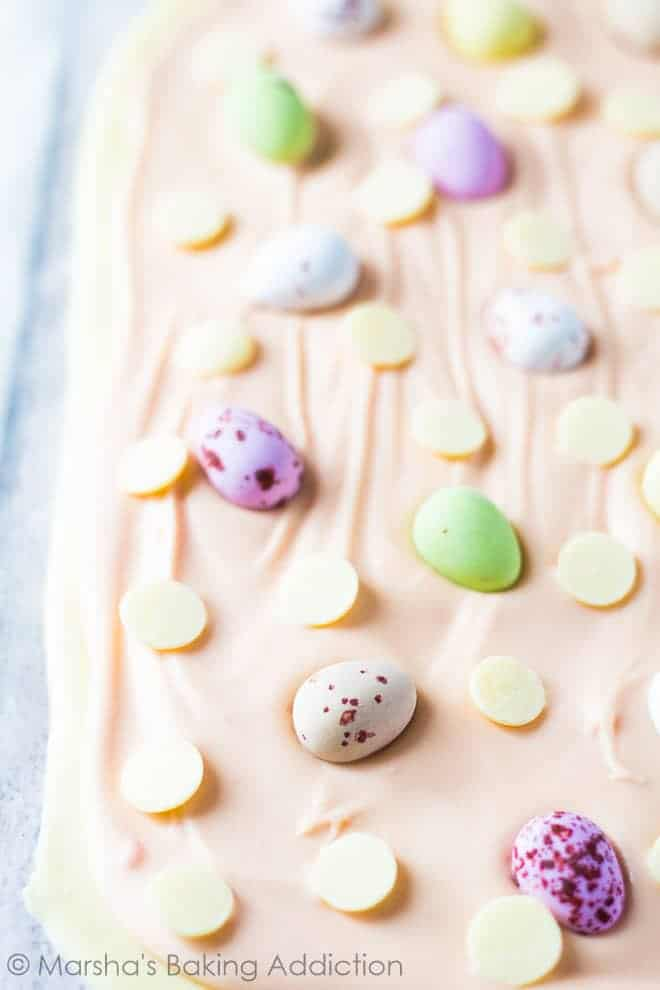 White Chocolate Easter Bark topped with Mini Eggs and white chocolate chips.
