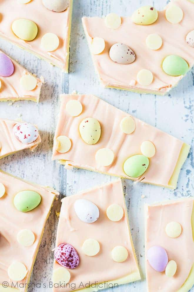 Overhead shot of White Chocolate Easter Bark broken into pieces.