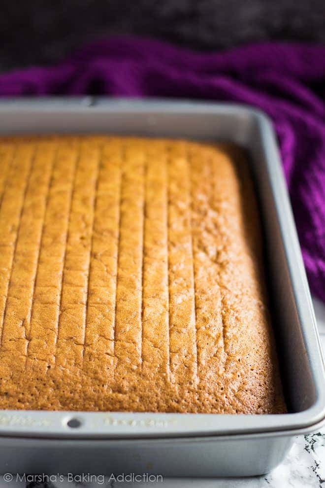 Perfect Vanilla Sheet Cake in a rectangle baking pan before being frosted.