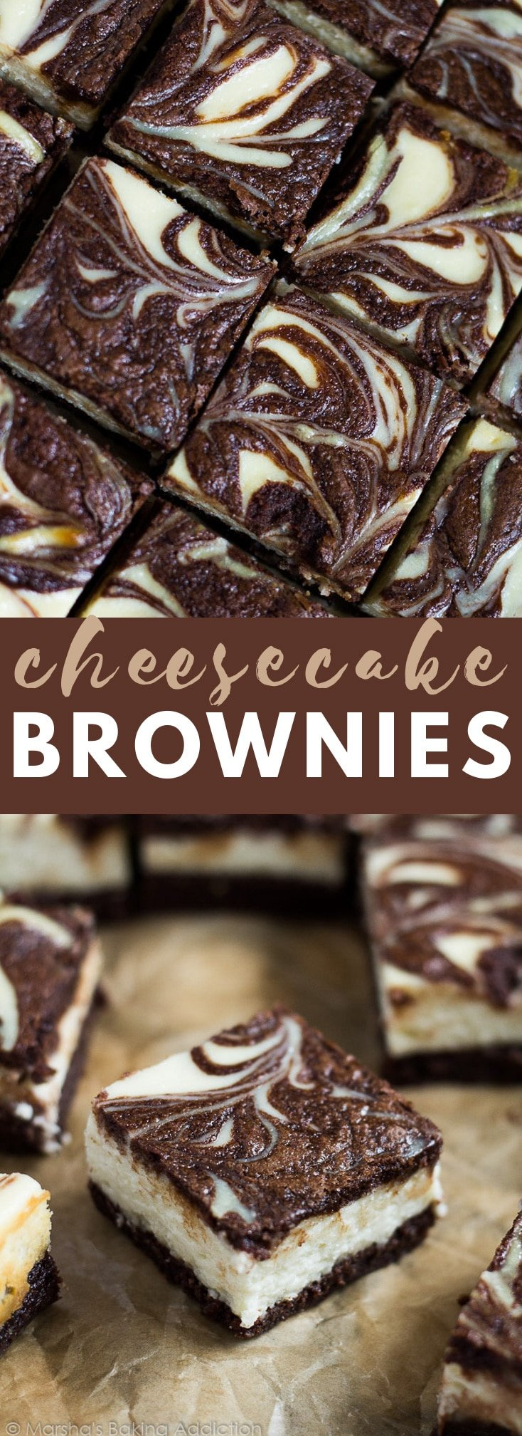Cheesecake Brownies - Scrumptiously rich and fudgy brownies topped with a creamy cheesecake layer with a brownie swirl. A perfect cheesecake brownie combination! #cheesecake #brownies #recipe