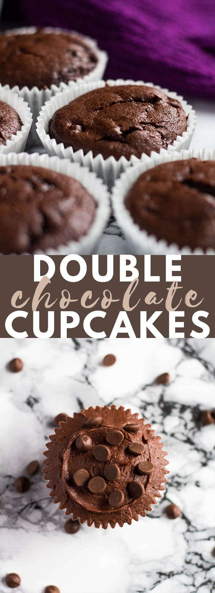 Double Chocolate Cupcakes -Deliciously moist and fluffy chocolate cupcakes stuffed with chocolate chips, and topped with a chocolate buttercream frosting! #chocolatecupcakes #cupcakerecipes #chocolaterecipes