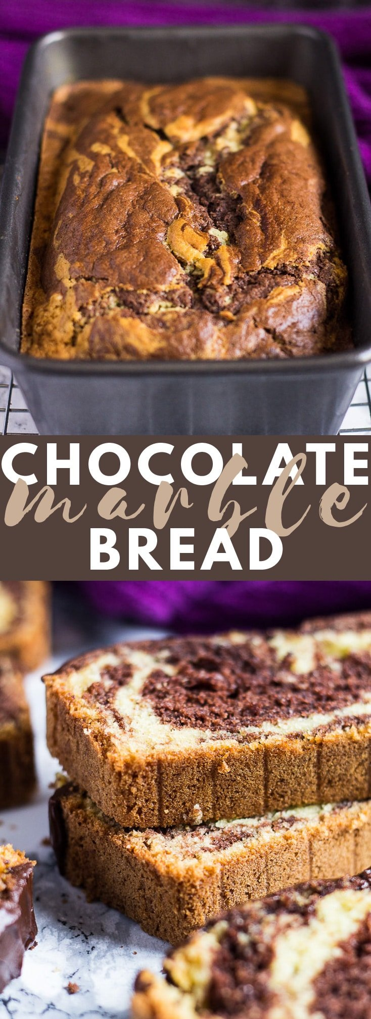 Chocolate Marble Bread - Deliciously moist and fluffy vanilla bread marbled with chocolate, and topped with chocolate ganache. Perfect for chocolate lovers! #chocolatebread #breadrecipes #cakerecipes