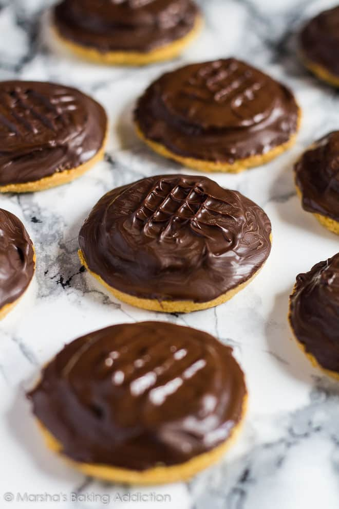 Homemade Jaffa Cakes on a marble background.