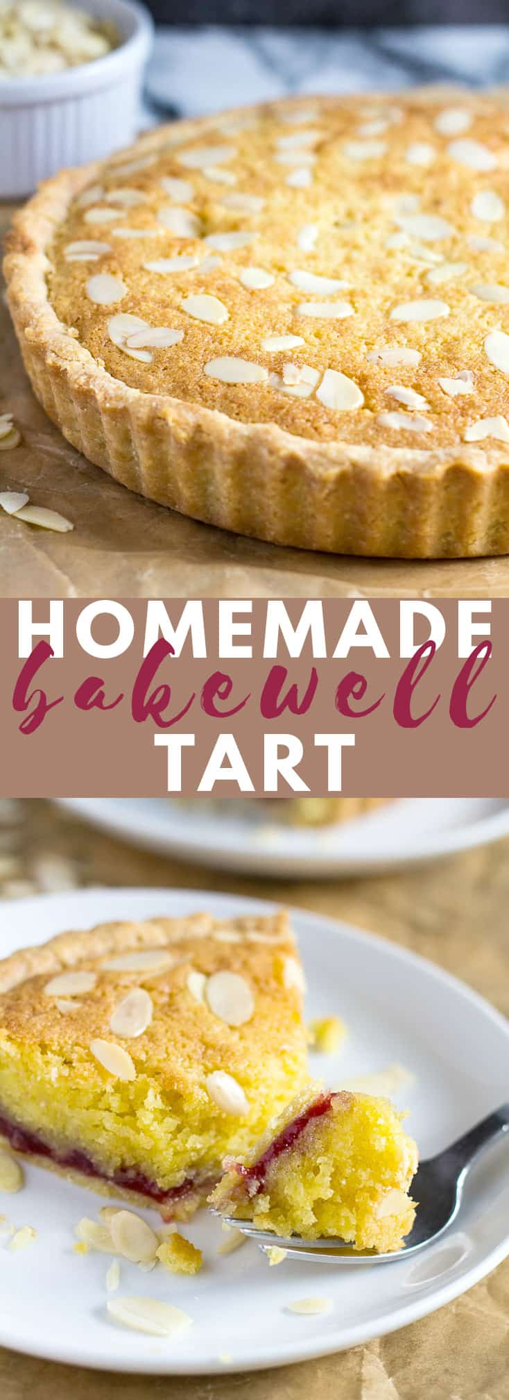 Bakewell Tart- A sweet shortcrust pastry filled with raspberry jam, almond flavoured sponge, and topped with flaked almonds! #bakewelltart #tartrecipes #cherrybakewell #recipe