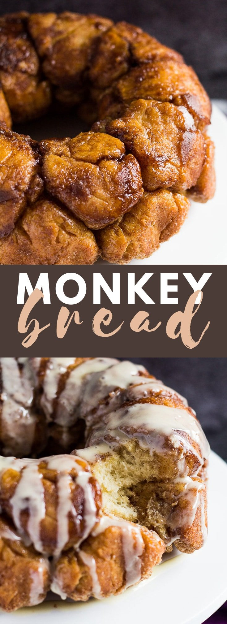 Monkey Bread - Balls of sweet bread dough coated in sugar and cinnamon, baked in a bundt pan and drizzled with a creamy glaze! #monkeybread #breadrecipes