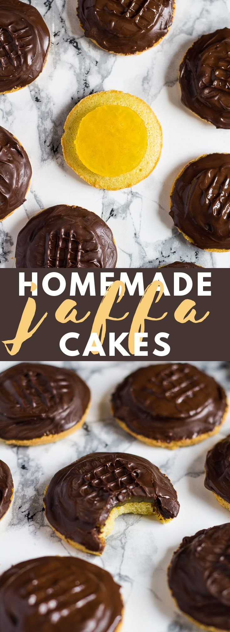 Homemade Jaffa Cakes - A British classic. Biscuit sized cakes topped with an orange jelly and sealed with dark chocolate! #jaffacakes #homemade #cakerecipes #chocolaterecipes