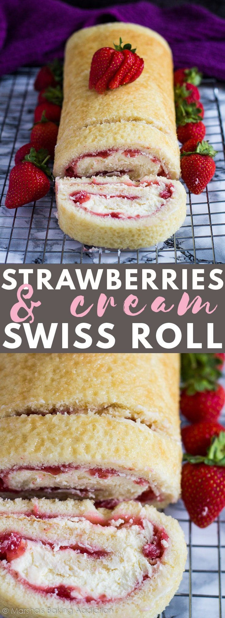 Strawberries and Cream Swiss Roll - Deliciously moist and fluffy vanilla cake filled with a layer of fresh strawberry sauce, and a layer of homemade whipped cream. The perfect summer dessert! #strawberriesandcream #swissroll #swissrollrecipes #cakerecipes