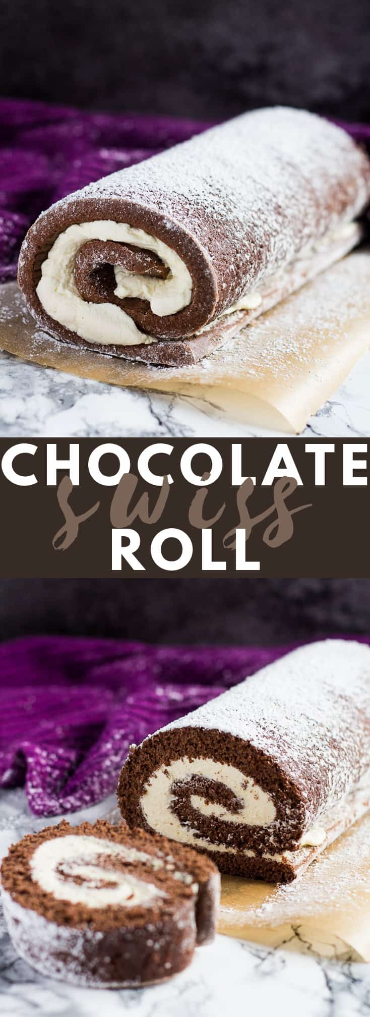 Chocolate Swiss Roll- Deliciously moist and fluffy cake filled with a thick layer of vanilla whipped cream and dusted with icing sugar! #chocolateswissroll #swissrollrecipes #chocolaterecipes #cakerecipes
