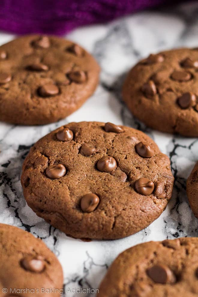Double Chocolate Cream Cheese Cookies on marble background.