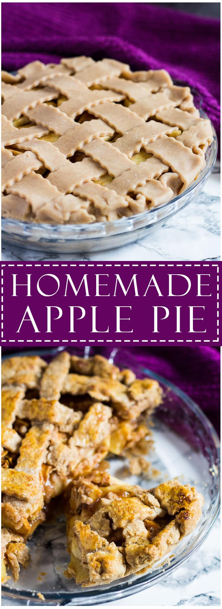 A long image of Homemade Apple Piewith text overlay.