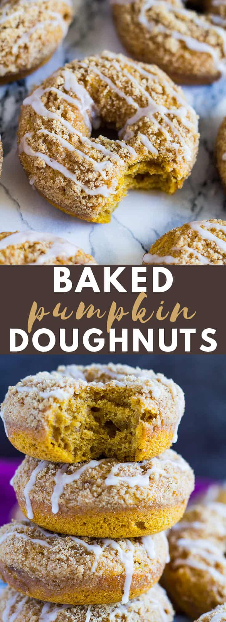 Baked Pumpkin Streusel Doughnuts- Deliciously moist and fluffy spiced pumpkin doughnuts that are BAKED, not fried, topped with a crunchy cinnamon streusel, and drizzled with a sweet glaze! #bakeddonuts #pumpkindonuts #pumpkinrecipes