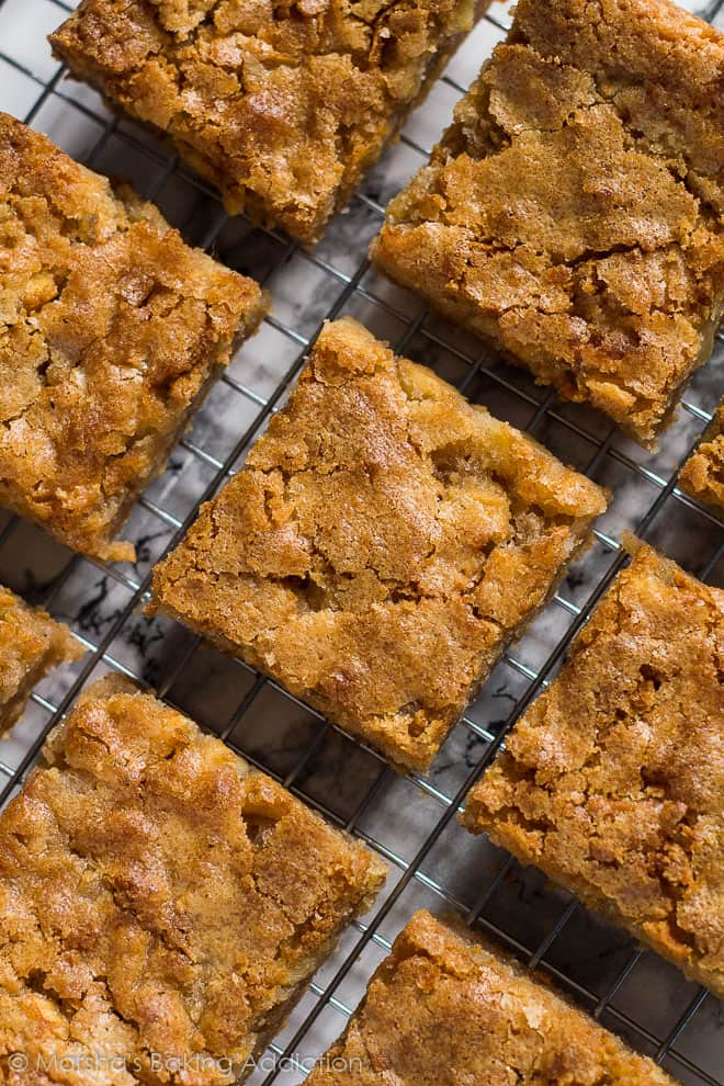 Overhead shot of Apple Cinnamon Blondies on a wire rack.