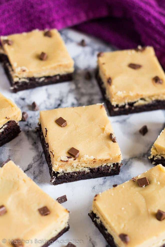 Peanut Butter Fudge Brownies on marble background.