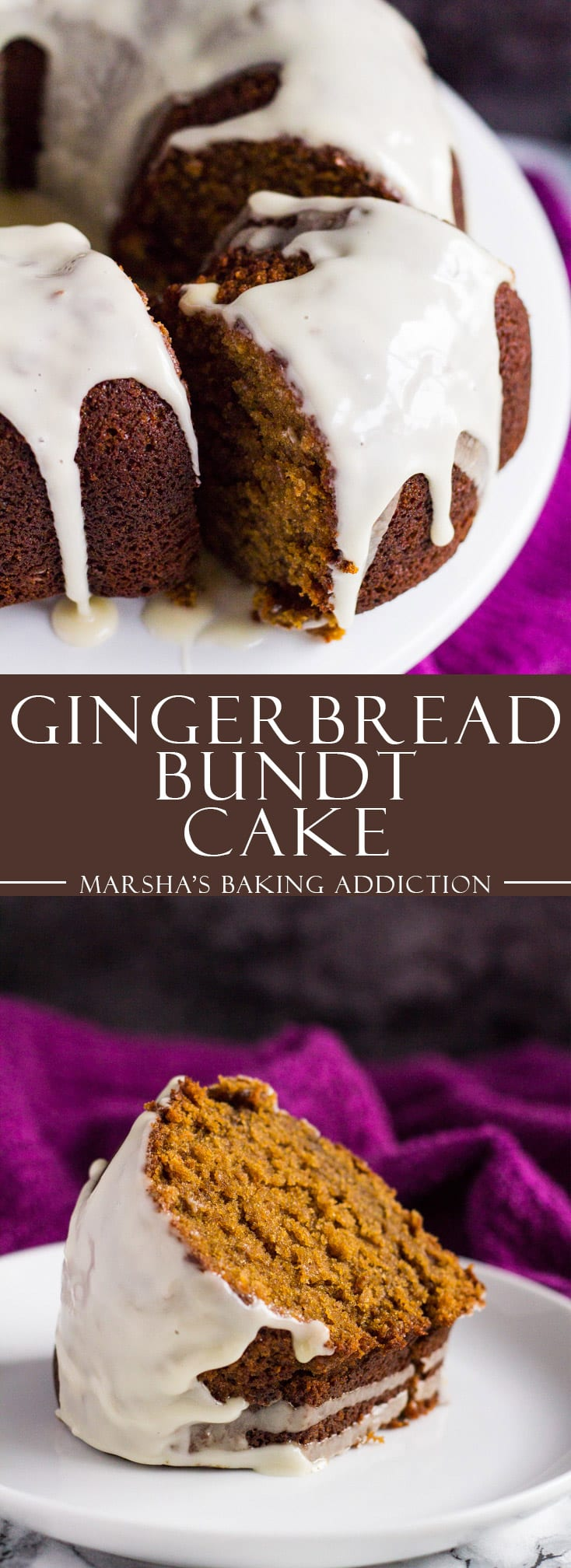 A long Pinterest image of Gingerbread Bundt Cake with text overlay.