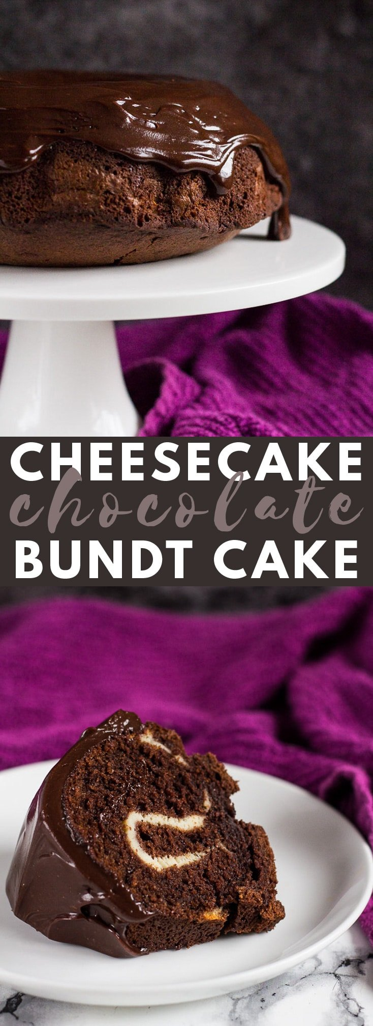 Cheesecake Swirl Chocolate Bundt Cake - Deliciously moist and fluffy chocolate Bundt cake, swirled with a thick and creamy vanilla cheesecake centre! #chocolatecake #bundtcake #cakerecipes