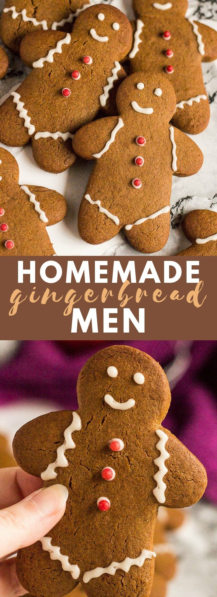 Gingerbread Men- Deliciously ginger-spiced cookies that are slightly soft on the inside, and crispy on the outside, and decorated with icing! #gingerbreadmen #gingercookies #cookierecipes #christmascookies #christmasrecipes