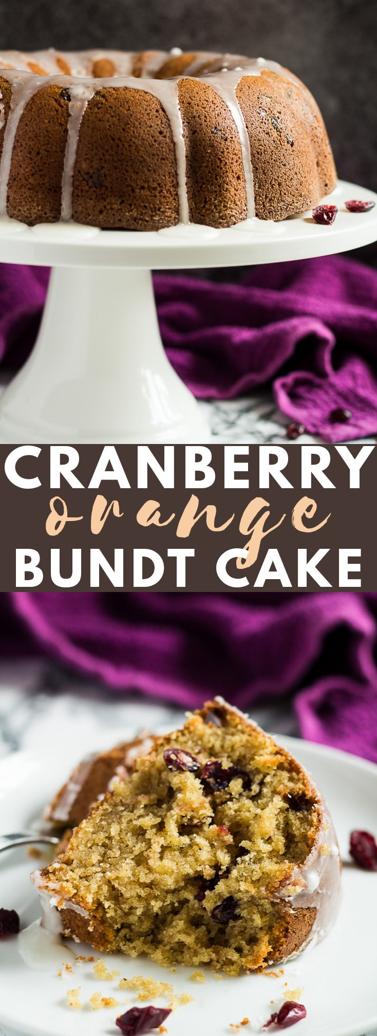 Cranberry Orange Bundt Cake - A deliciously moist and fluffy cinnamon-spiced, orange-infused bundt cake stuffed full of sweet cranberries, and drizzled with an orange glaze! #cranberry #orange #bundtcake #cakerecipes #christmasrecipes