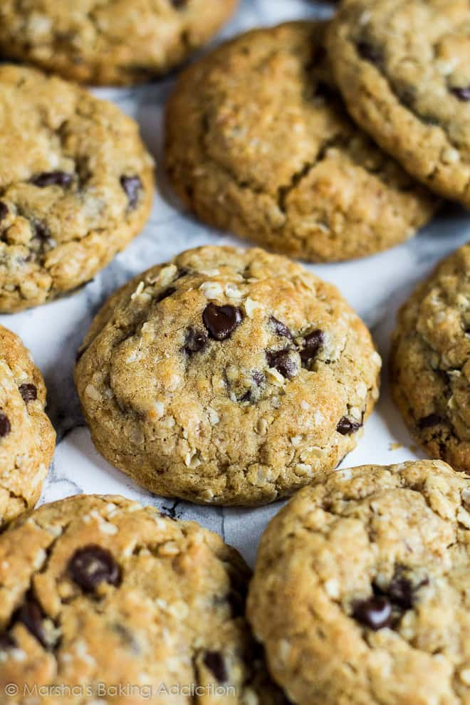 Healthier chocolate chip cookies on marble background.
