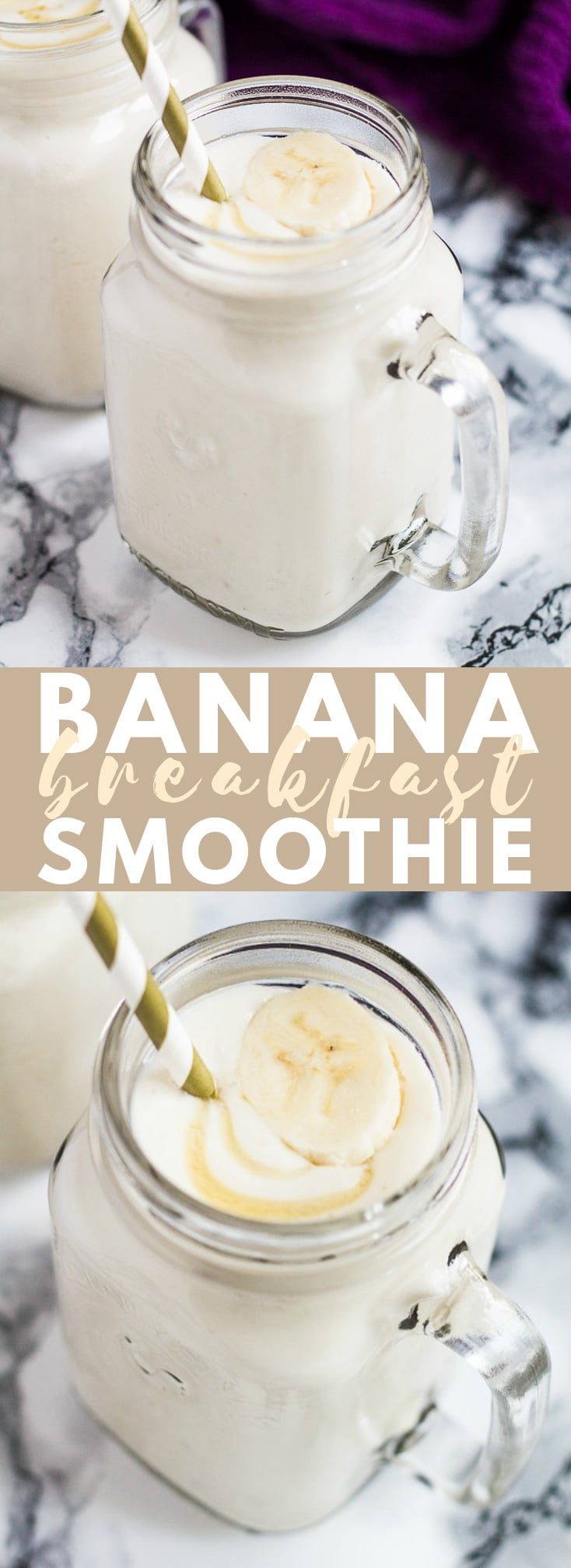 Banana Breakfast Smoothie – Deliciously thick and creamy banana smoothie, that is super healthy and made from only 4 ingredients – the perfect smoothie for breakfast!