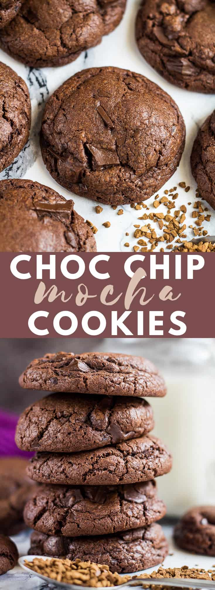 Chocolate Chip Mocha Cookies - Deliciously soft, thick, and chewy chocolate cookies infused with coffee and studded with chocolate chunks. No chilling required! #chocolatechipcookies #mocha #chocolatecookies #cookierecipes