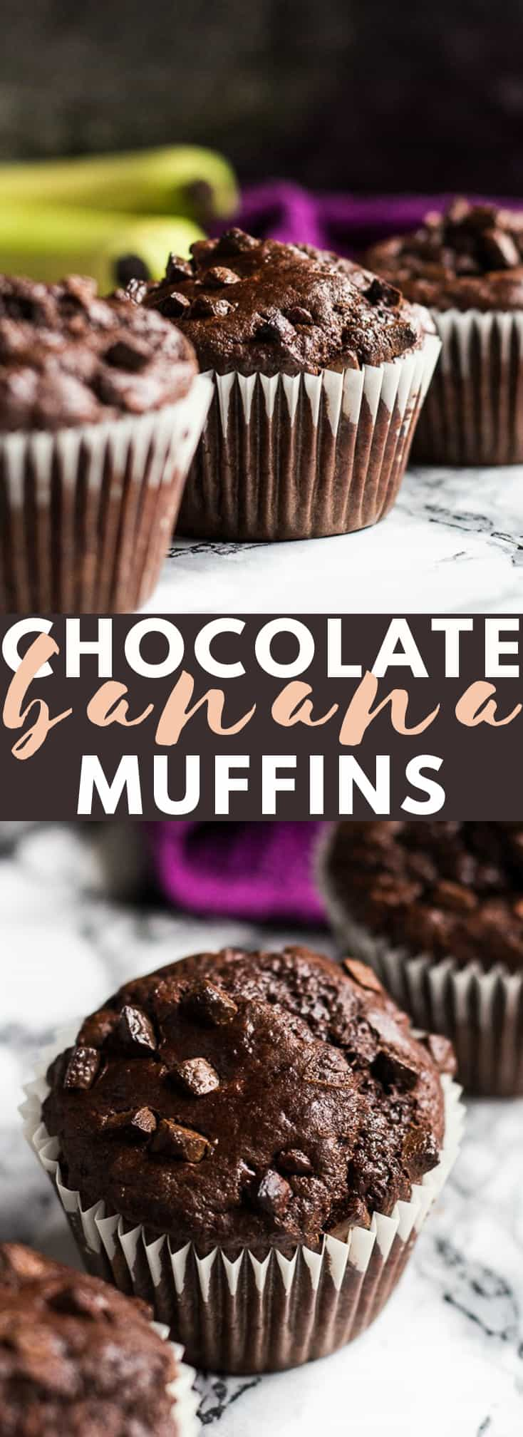 Chocolate Banana Muffins - Deliciously soft and moist chocolate muffins that are full of banana flavour, and studded with chocolate chips! #chocolate #banana #muffins #muffinrecipes #breakfastrecipes
