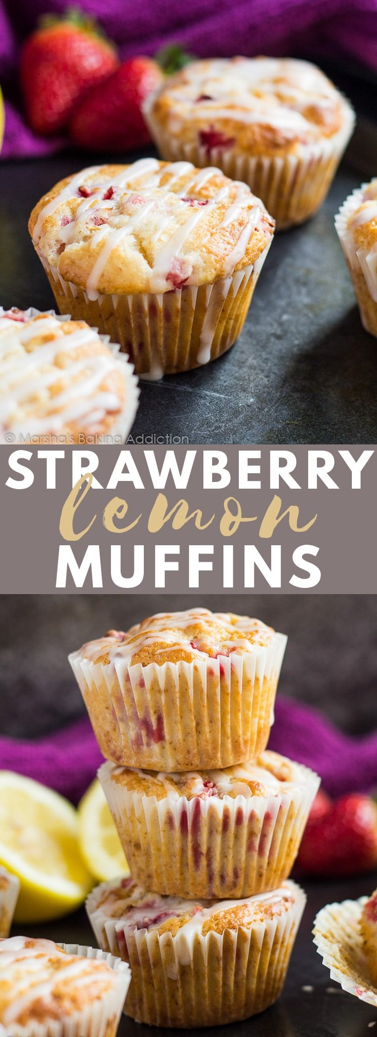 Strawberry Lemon Muffins - Deliciously moist muffins infused with lemon juice and zest, loaded with strawberries, and drizzled with a lemon glaze! #strawberry #lemon #muffins #muffinrecipes