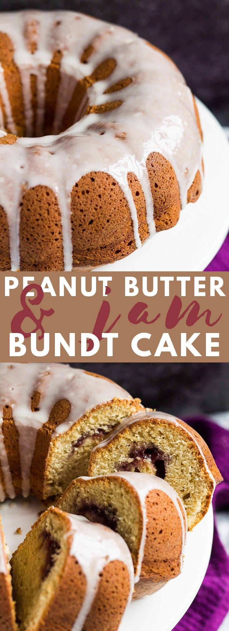 Peanut Butter and Jam Bundt Cake- A scrumptiously moist and fluffy peanut butter flavoured bundt cake swirled with a strawberry jam filling! #peanutbutter #jam #bundtcake #cakerecipes