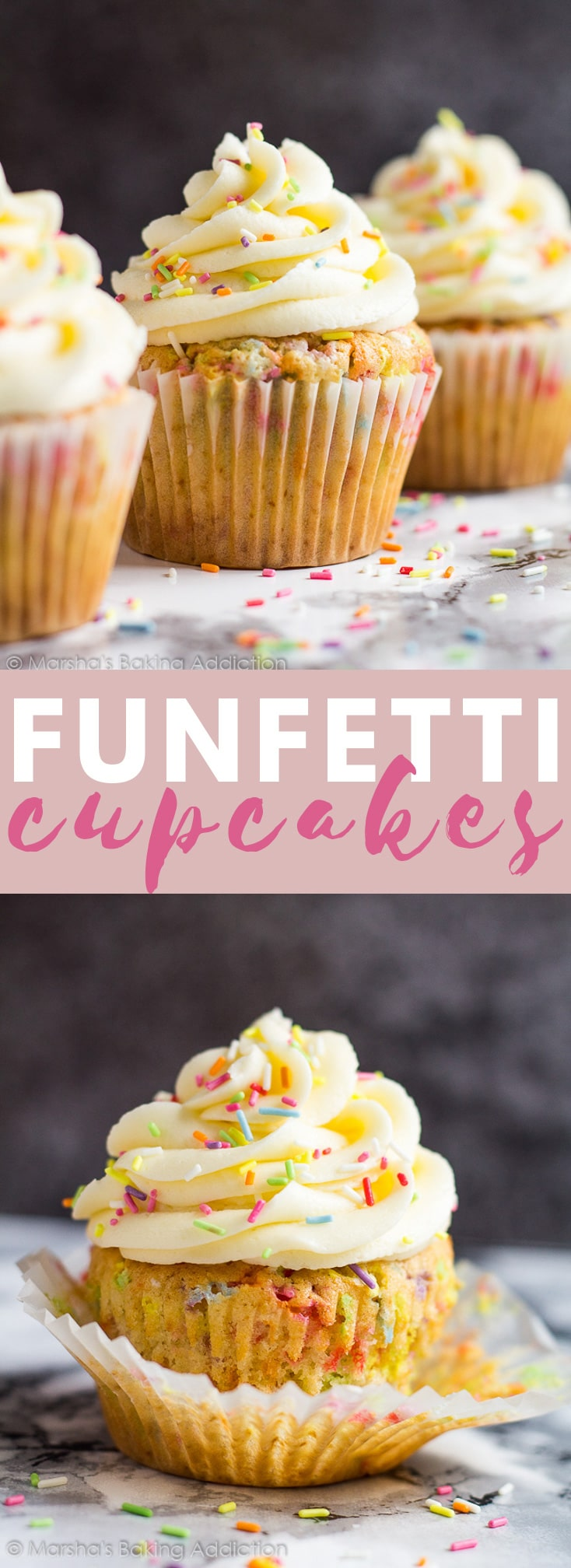 Funfetti Cupcakes- Deliciously moist and fluffy vanilla cupcakes loaded with rainbow sprinkles and topped with sweet vanilla buttercream frosting! #funfetti #cupcakes #cupcakerecipes