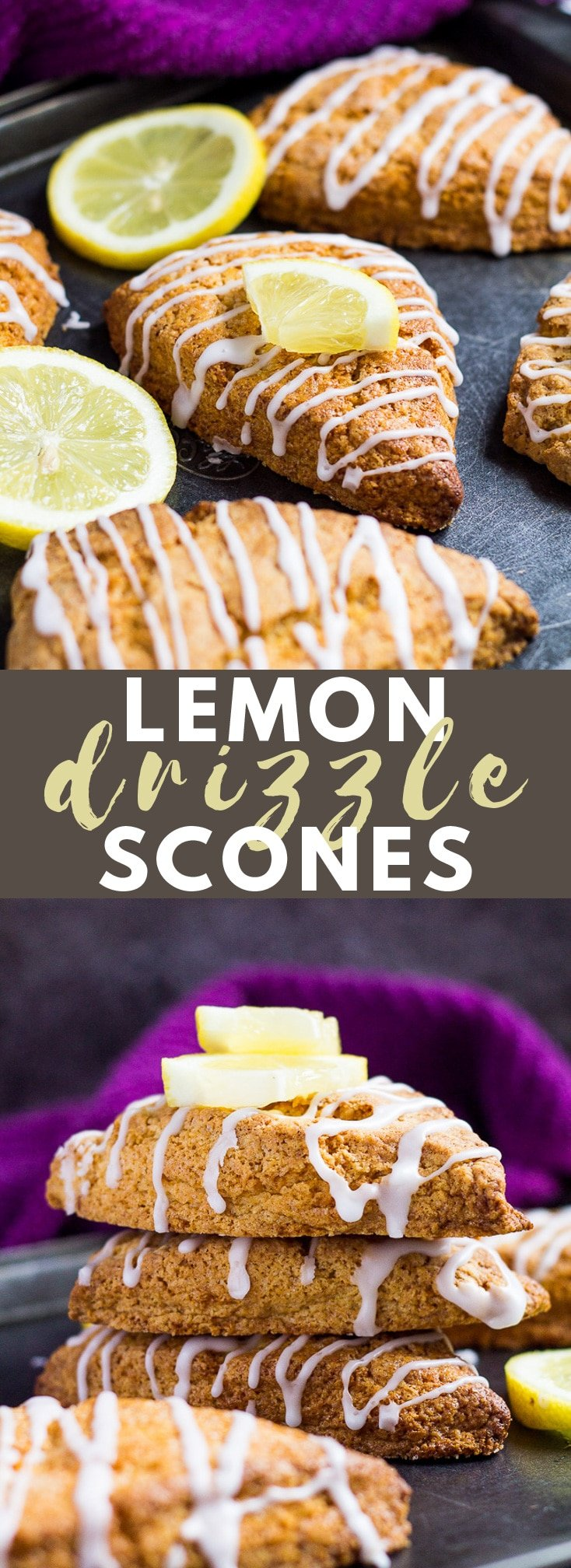 Lemon Drizzle Scones- These scones are deliciously soft and fluffy on the inside and crispy on the outside, infused with lemon and drizzled with a sweet lemon glaze! #lemon #scones #bread #recipe