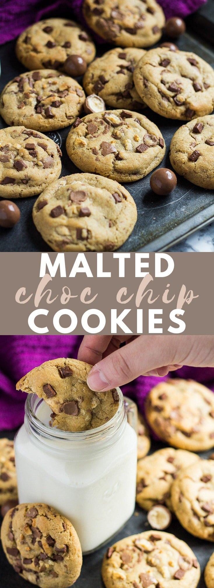 Malted Chocolate Chip Cookies- Deliciously thick, soft-baked cookies infused with malted milk powder, and loaded with Maltesers and chocolate chips! #malted #chocolatechipcookies #cookierecipes