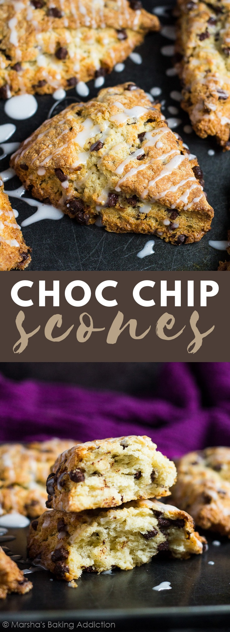 Chocolate Chip Scones- Deliciously moist, fluffy and tender vanilla scones stuffed full of chocolate chips, and drizzled with a sweet glaze! #chocolatechip #scones #breadrecipes #breakfastrecipes