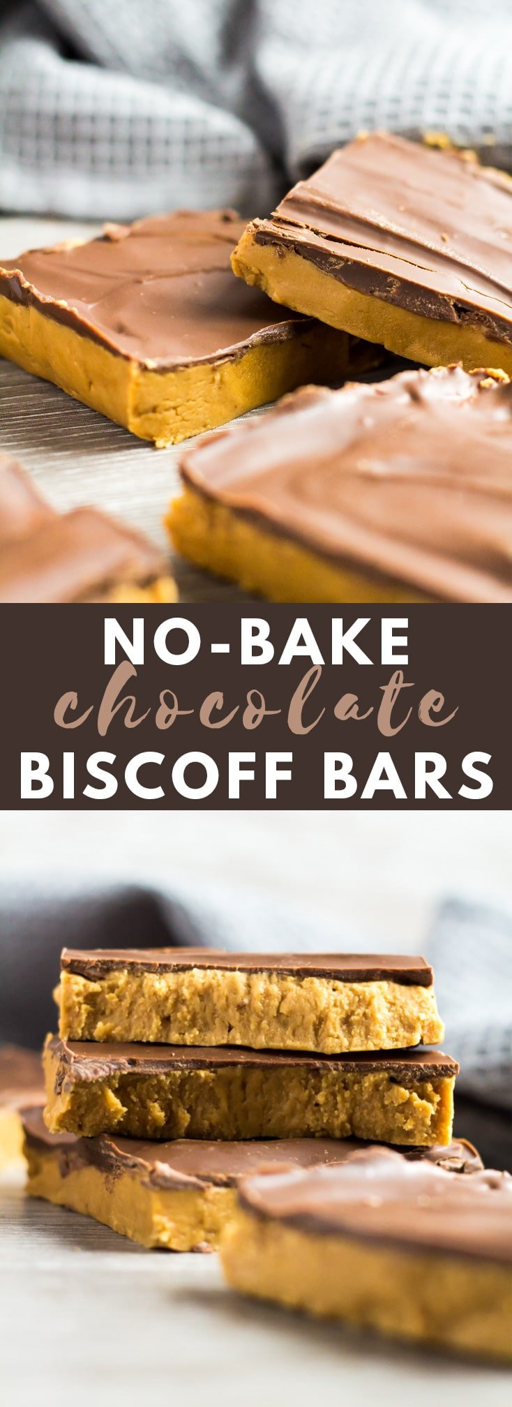 No-Bake Chocolate Biscoff Bars - Deliciously creamy and fudgy Biscoff bars that are full of flavour, no-bake, and topped with a layer of chocolate!