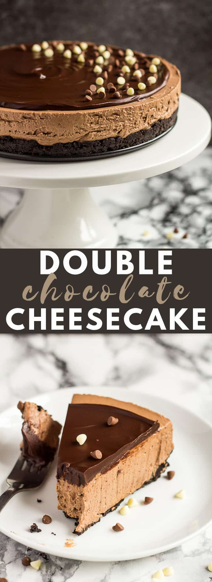 No-Bake Double Chocolate Cheesecake - Deliciously creamy NO-BAKE chocolate cheesecake with an Oreo crust, and topped with chocolate ganache! #chocolate #cheesecake #nobake #cheesecakerecipes