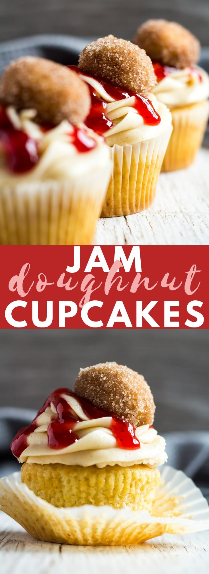 Jam Doughnut Cupcakes - Deliciously moist and fluffy vanilla-infused cupcakes filled with strawberry jam, and topped with a cinnamon-spiced buttercream frosting, and homemade doughnuts!