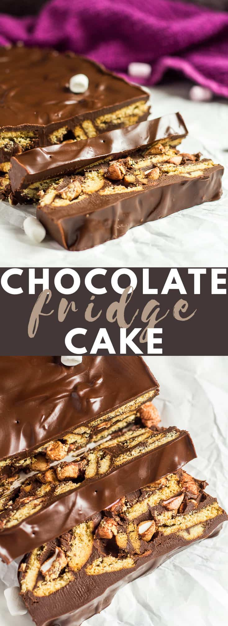 Chocolate Fridge Cake - Digestive biscuit pieces, and mini marshmallows coated in a creamy, thick dark chocolate. The perfect no-bake treat! #chocolate #fridgecake #nobake #recipe