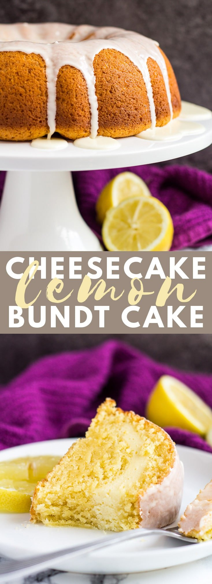 Cheesecake Swirl Lemon Bundt Cake- Deliciously moist and fluffy lemon-infused bundt cake, filled with a cheesecake swirl, and drizzled with a lemon glaze! #cheesecake #lemon #bundtcake #cakerecipes