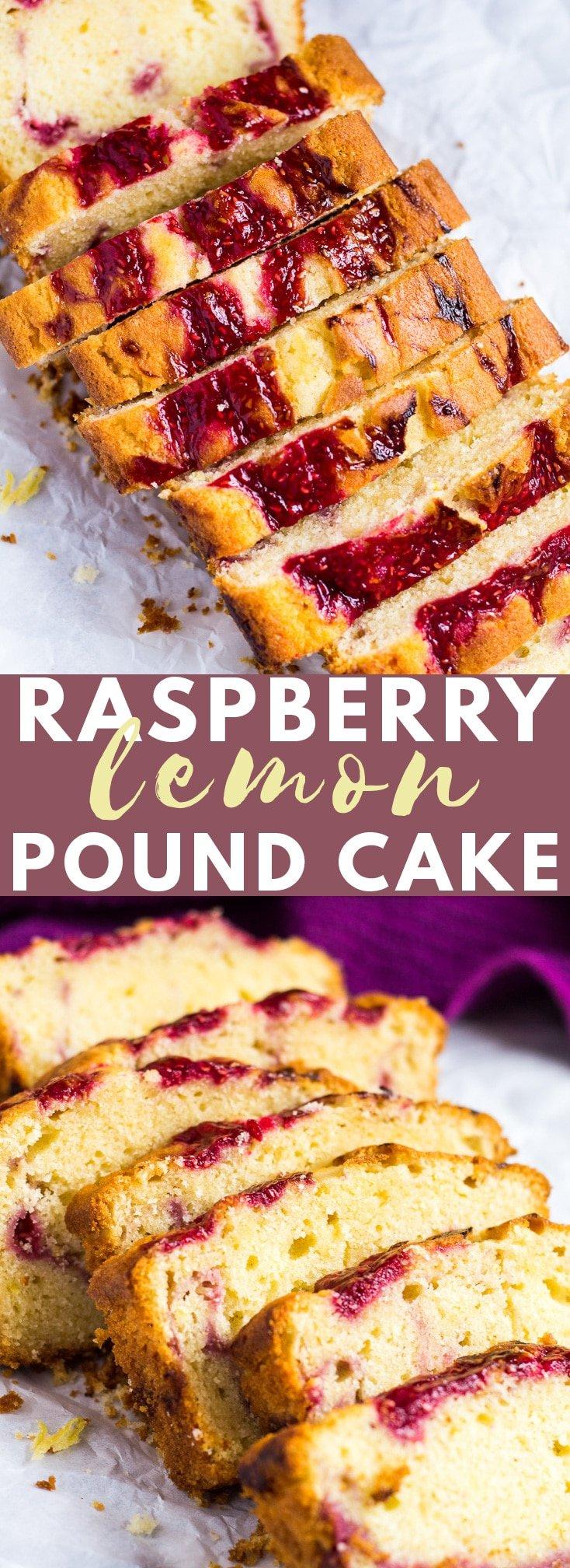 Raspberry Swirl Lemon Pound Cake- Incredibly moist and fluffy lemon-infused pound cake swirled with a fresh raspberry sauce! #raspberry #lemon #poundcake #cakerecipes