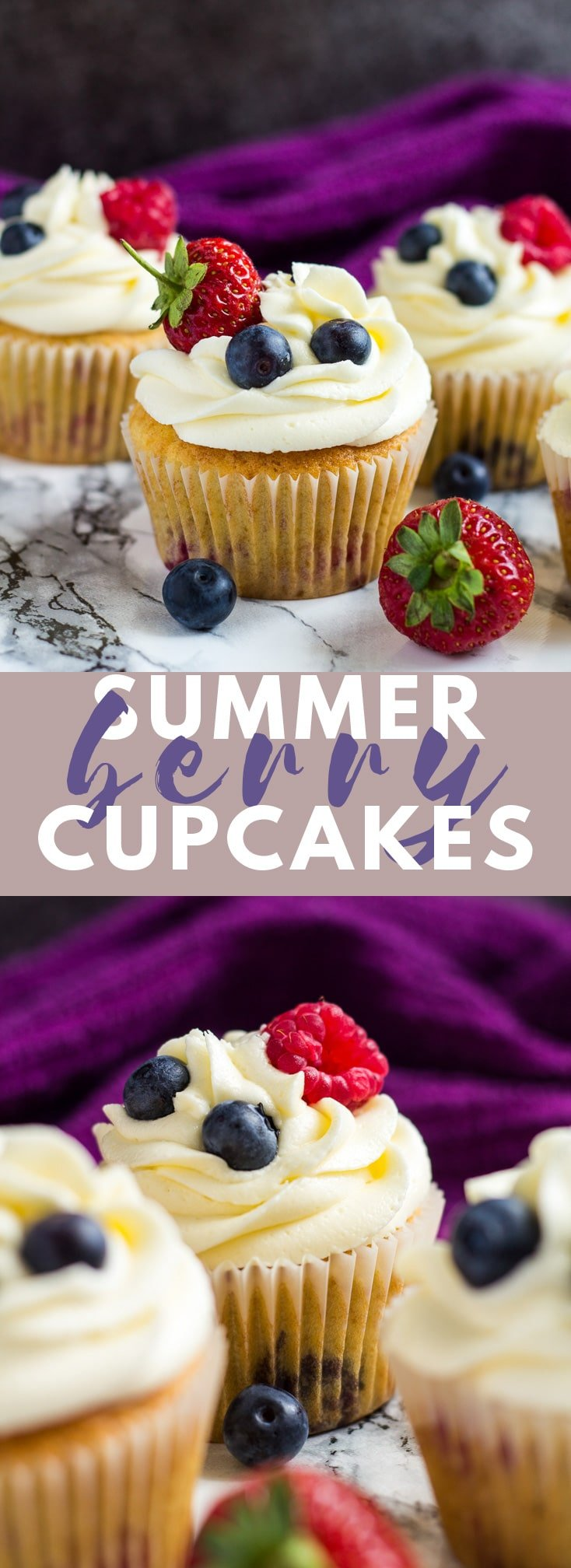 Summer Berry Cupcakes - Deliciously moist and fluffy vanilla cupcakes stuffed with summer berries, and topped with a sweet buttercream frosting! #cupcakes #cupcakerecipes #summerrecipes