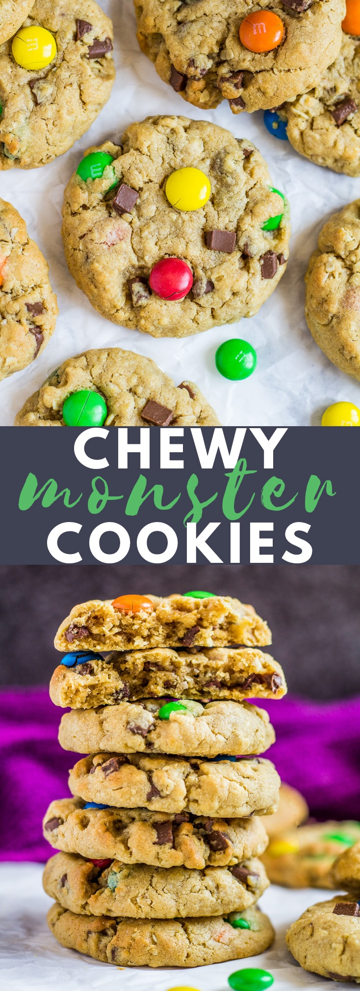 Soft and Chewy Monster Cookies - Deliciously thick, soft and chewy peanut butter cookies stuffed full of oats, M&Ms, and chocolate chips! #peanutbutter #monstercookies #cookierecipes
