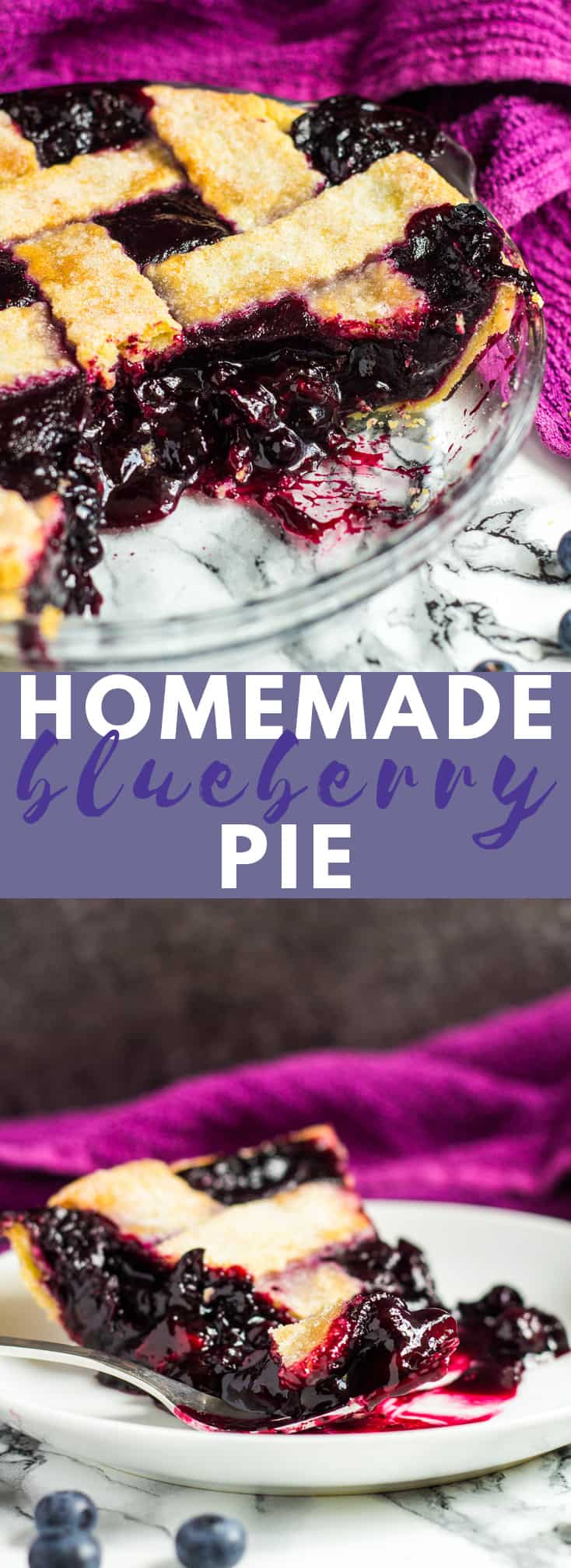 Homemade Blueberry Pie - A deliciously flaky, all-butter pie crust filled with a sweet, homemade blueberry filling! #homemade #blueberrypie #recipe