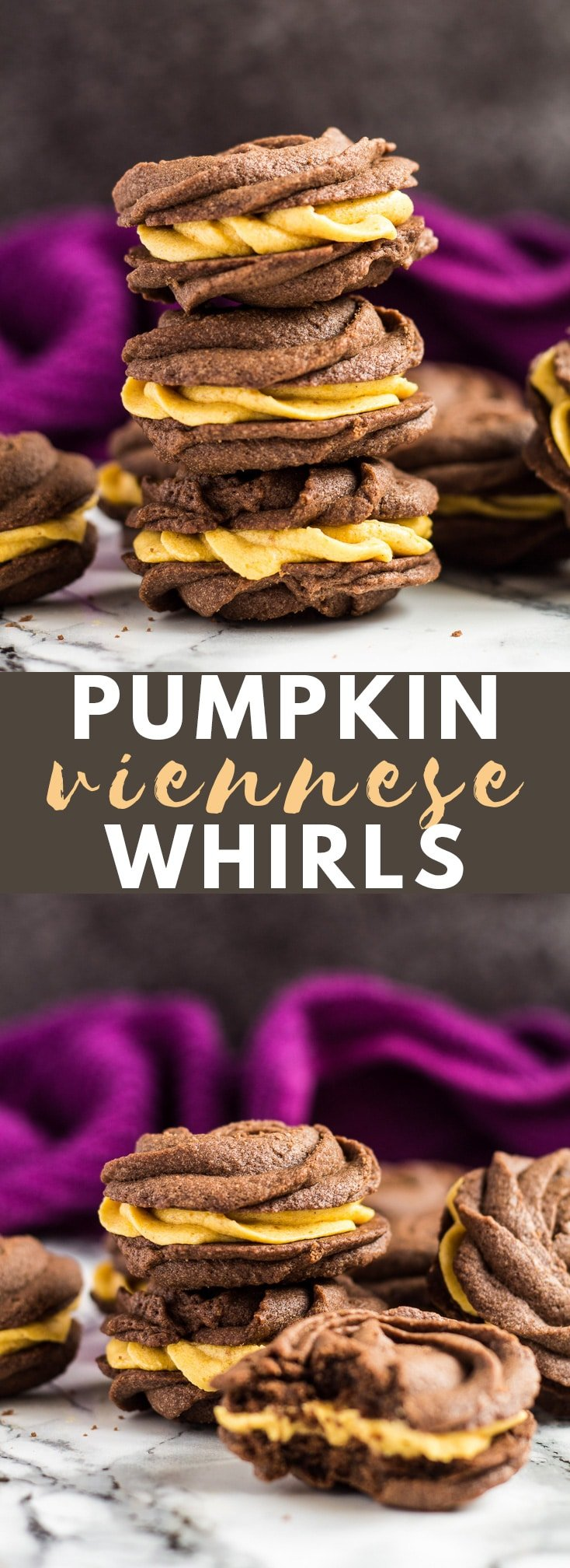 Chocolate Pumpkin Viennese Whirls- Deliciously buttery, melt-in-your-mouth chocolate biscuits filled with a perfectly spiced pumpkin buttercream! #chocolate #pumpkin #cookies #viennesewhirls