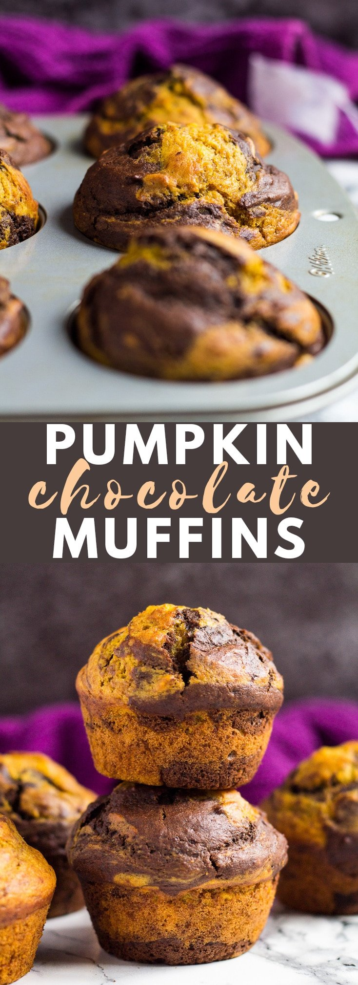 Pumpkin Chocolate Muffins - These deliciously moist pumpkin muffins are swirled with chocolate and perfectly spiced. Enjoy with your morning tea or coffee this autumn! #pumpkin #chocolate #muffins #recipe