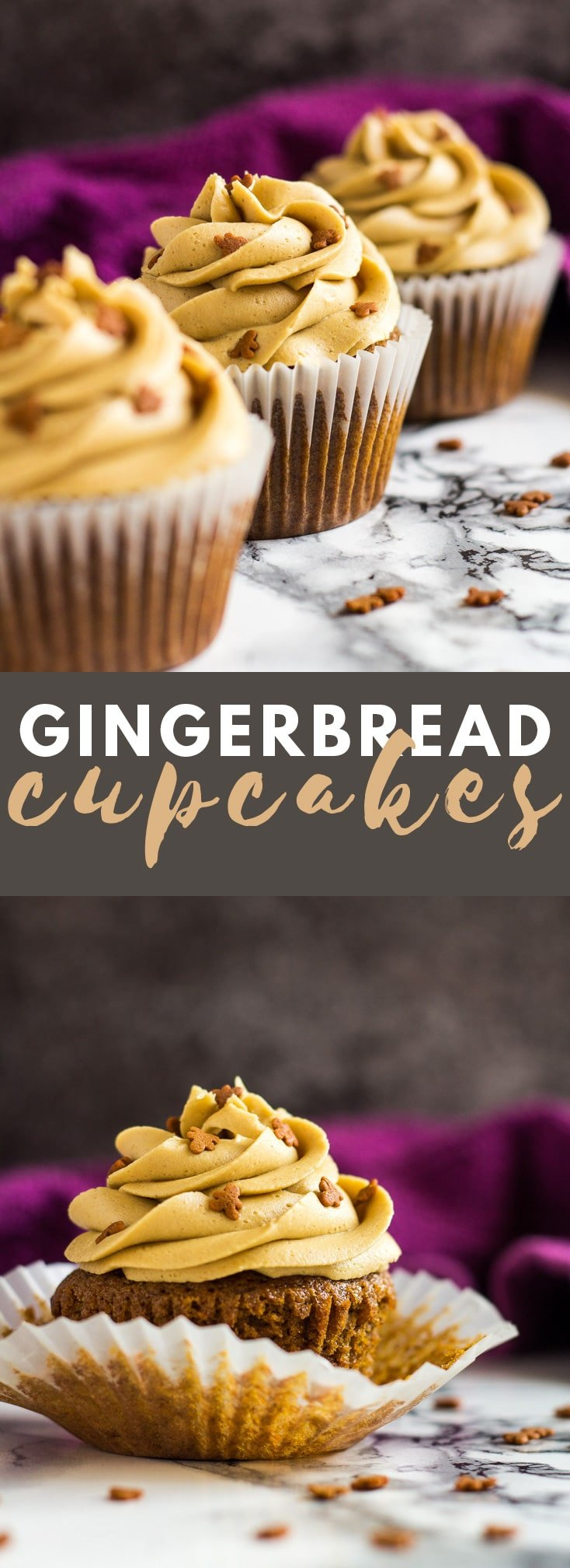 Gingerbread Cupcakes - Deliciously moist and fluffy gingerbread cupcakes that are loaded with flavour, and topped with a ginger buttercream frosting! #gingerbread #cupcakes #cupcakerecipes #christmasrecipes