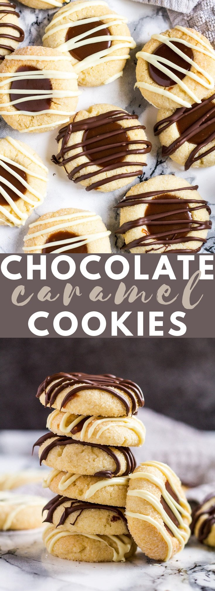 Chocolate Caramel Thumbprint Cookies - Deliciously soft, melt-in-your-mouth vanilla thumbprint cookies filled with homemade chocolate caramel sauce, and drizzled with melted chocolate! #chocolate #caramel #thumbprint #cookies #recipe