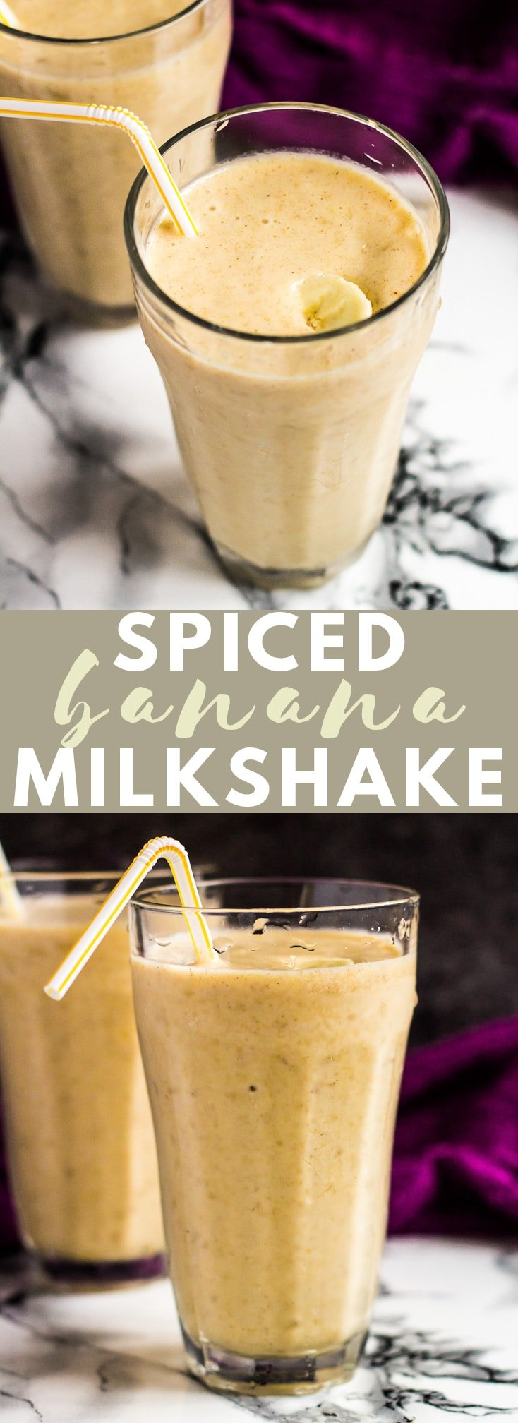 Spiced Banana Milkshake - This deliciously thick banana milkshake is so full of flavour, and is perfectly spiced with a hint of cinnamon and ginger. A perfect, indulgent pick-me-up drink! #bananamilkshake #milkshakerecipes #bananarecipes
