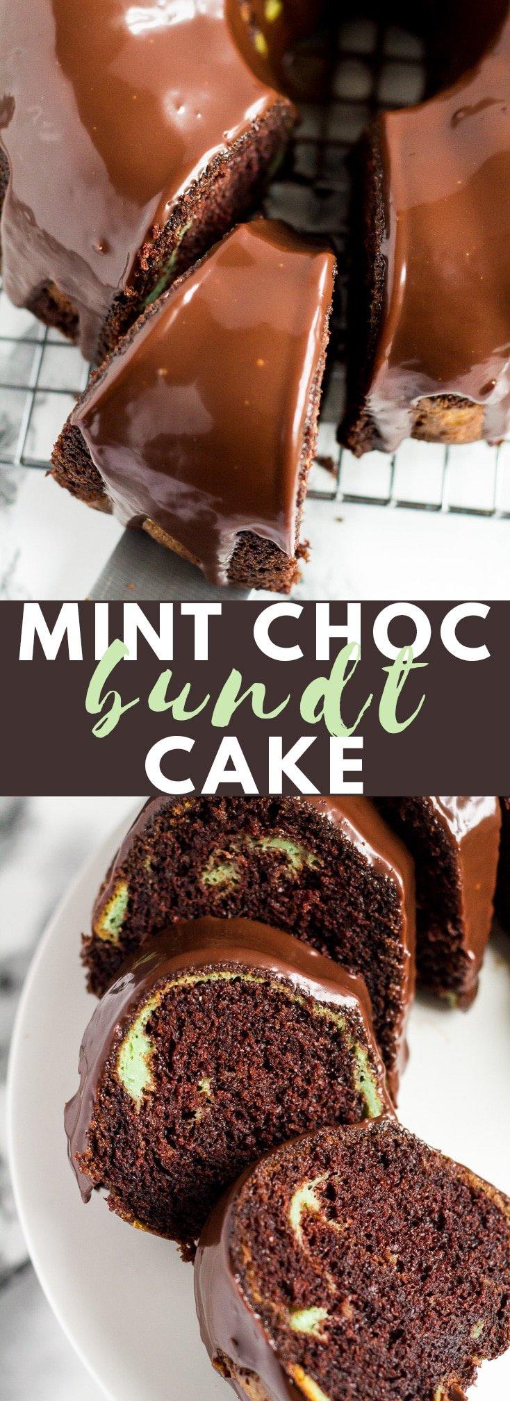 Mint Chocolate Bundt Cake - Deliciously moist and fluffy chocolate bundt cake infused with mint, and drizzled with a creamy chocolate ganache! #mint #chocolate #bundtcake #chocolatecake #cakerecipes