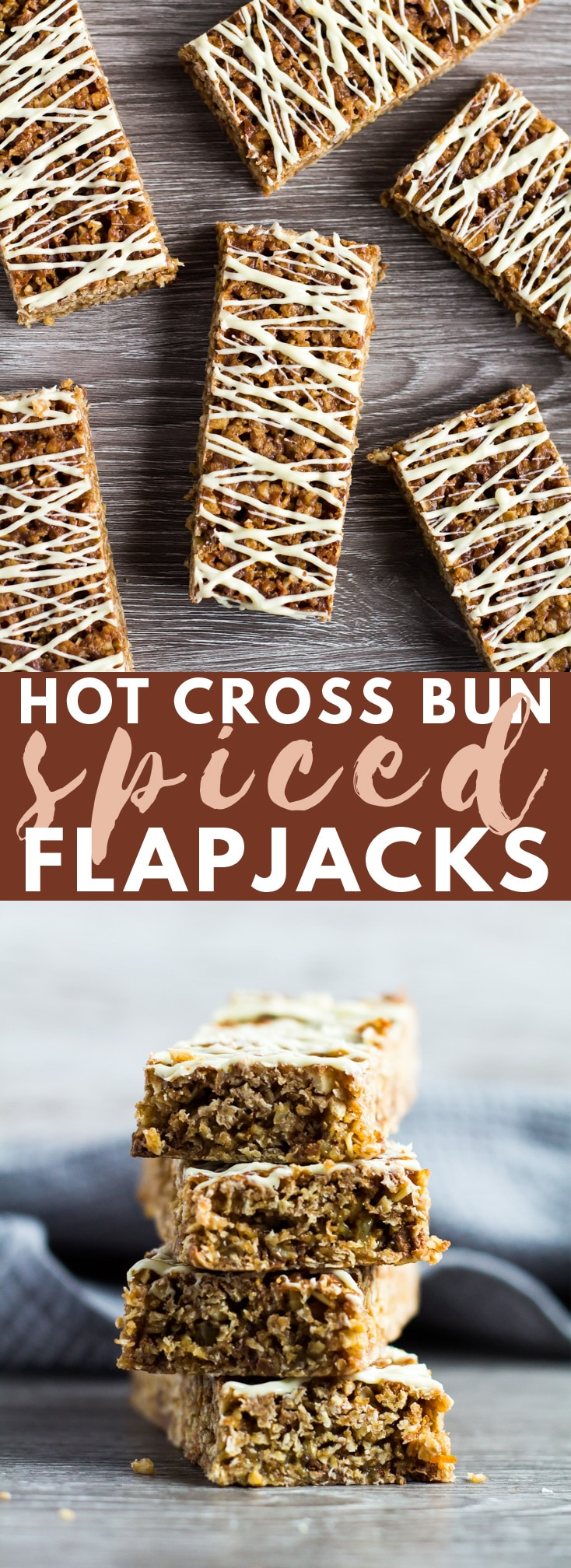 Hot Cross Bun Spiced Flapjacks - These deliciously chewy flapjacks taste just like hot cross buns. They're thick and gooey, perfectly spiced, and topped with a drizzle of white chocolate!